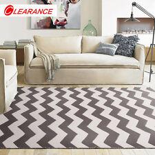 Brown Floor Rug Mat Flatweave Zig Zag Chevron Super Soft Cotton Carpet 80x150cm