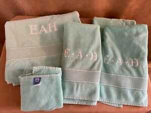 EAH Pottery Barn Teen Classic Embroidered Bath Bathroom 8 pc Towel set aqua