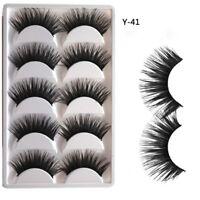 5Pairs Natural False Eyelashes Extra Long Thick Cross Handmade Fake Eye Lashes Z