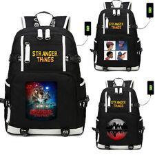 Hot USB Backpack StrangerThings Student School Bag Travel Bags Rucksack Gift