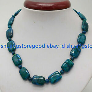 Natural 13x18mm Rectangle Blue Azurite Chrysocolla Gemstone Beads Necklace 16-50