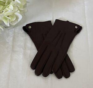 Jasper Conran - Plum Colored Leather Gloves (Medium)
