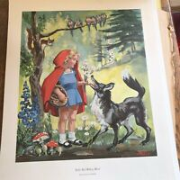 Vintage Poster Little Red Riding Hood cr 1972 Black /& White Thick Paper 23x29