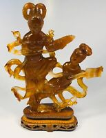 Antique 1920s Chinese Hand-Carved Agate Two Figures on Wood Base With Box