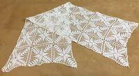 Vintage Hand Crocheted Table Runner Or Dresser Scarf, Off White, Flower Design