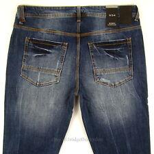 Sean John Mens New Slim Fit Size 34 x 32 Dark Blue DISTRESSED WITH STRETCH NWT