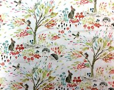 Wi111 Bunny Rabbit Hedgehog Squirrel Enchanted Forest Cotton Quilt Fabric