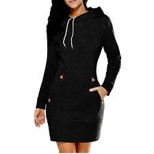 Womens Long Sleeve Hooded Sweashirt Dress Black Grey Olive Green DarkRed