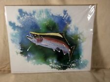 Shelly Maudsley White Original Art Print Signed Vic Erickson Rainbow Trout