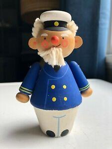 Mid-Century DANISH MODERN Swedish PAINTED WOOD Captain NAUTICAL Figurine Sweden