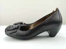 CLARKS Ladies Women Designer Court High Small Heel Shoe Black Leather Size 5 38