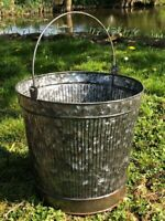 Galvanised Steel Metal Bucket Water Coal Fire Greenhouse Planters FAST & FREE