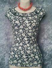 REVIEW Top - Black White Floral Print Stretch Cap Sleeve Boat Neck Designer - 6