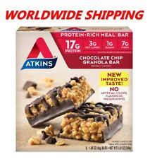 Atkins Chocolate Chip Granola Protein Rich Meal Bar 8.47 Oz 5 Ct WORLD SHIPPING