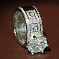 925 Plated Silver Filled White Sapphire Birthstone Engagement Wedding Ring Gift