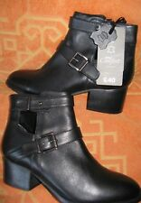 TU LEATHER ANKLE BOOTS BNWT SIZE 5 IN BLACK