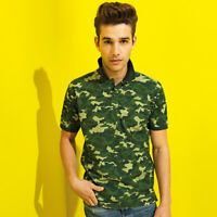 Mens Short Sleeve Camouflage Polo Shirt Military Combat Army Print Casual Camo