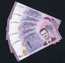 Lot of 5 bills x  NEW 2000 SYRIAN POUNDS Livres Syriennes Syria Syrie