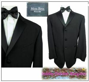 "Moss Bros Mens Black Tuxedo Dinner suit Ch44""R W32"" L31"" Prom Ball Cruise"