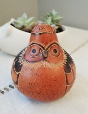 Vintage Carved Gourd Handpainted Peruvian Style Folk Art The Original Angry Bird