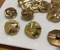 5 Gold Buttons 25mm Round Shank M036 AUSSIE SELLER