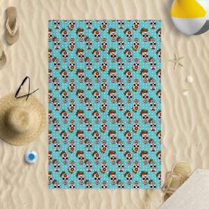 "58 x 39"" Beach Towel Sugar Skull All Over Design Microfibre Pool Swim Holiday"