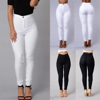 Pencil Stretch Women Casual Skinny Jeans Pants Elasticity High Waist Trousers