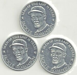 1971 Top Performers Coin Dodgers 42 JACKIE ROBINSON Set of 3 Coins
