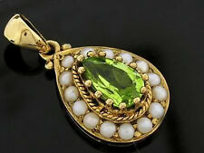 CP261 GORGEOUS Genuine 9ct Gold Natural Peridot & Seed Pearl Drop Tear Pendant