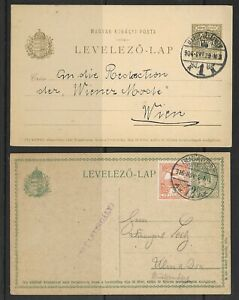 Hungary used postal card lot of 2-different