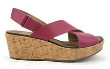 Clarks Cerise Pink Leather Cork Cross Strap Platform Wedge Sandals Womens 10