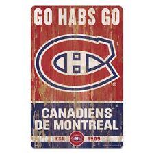 NHL Hockey sur Glace Montréal Canadiens Slogan Go Habs Bois Signer Panneau en
