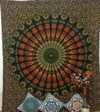 Peacock Mandala Design Cotton Fabric Queen Size Tapestry Wonderful Indian Hippee