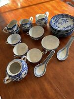 Japanese Dragon Tea Cups Saucers Misc Vintage Demitasse Blue & white China