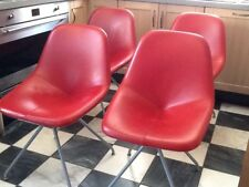 Red Leather Chairs x4, modern kitchen or dining