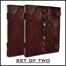 Seven Chakra Medieval Stone Leather Journal Book Set of Two Handbooks Embossed