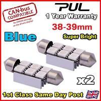 2 x 39MM ERROR FREE CANBUS LED SMD FESTOON NUMBER PLATE / INTERIOR LIGHT - BLUE