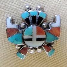"Zuni ""Book Piece"" ALONZO HUSTITO Pin Mosaic Inlay Horned Sun Kachina 1940-1950s"