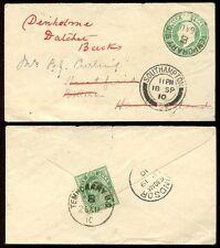 INDIA KE7 STATIONERY 1910 TEMPORARY B.O B PMK...BITTERNE GB REDIRECTED DATCHET
