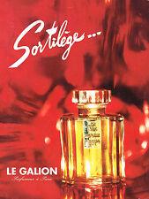 PUBLICITE ADVERTISING  1965   LE GALION   parfum SORTILEGE