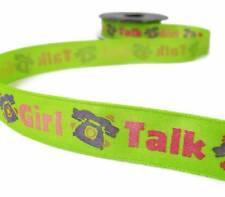 "5 Yds Lime Green Girl Talk Telephone Ribbon 5/8""W"