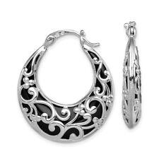 925 Sterling Silver Black Onyx Hinged Post Stud Hoop Earrings Ear Hoops Set