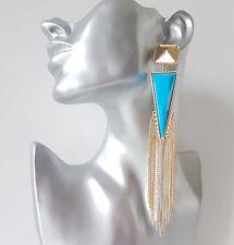 Stunning 15cm BLUE & gold coloured bead & chain tassel drop earrings NEW