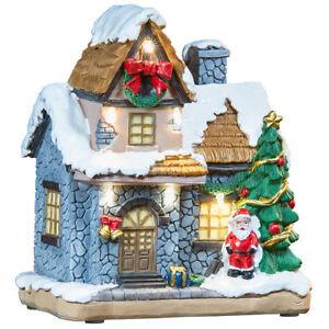 infactory Deko-Weihnachtshaus mit Santa Claus, LED-Beleuchtung, Batteriebetrieb