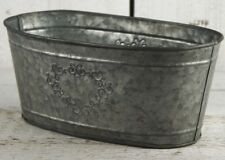 Vintage Rustic Zinc Metal Trough Planter Container Plant Pot with Embossed Heart