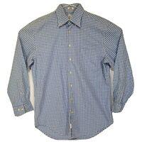 Peter Millar Mens Medium Dress Shirt Button Down 100% Cotton Long Sleeve Blue