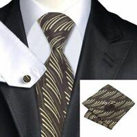Tie Set Brown Tan Novelty Classic 100% Silk Hanky Cufflinks Men's Necktie Sets
