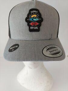 RIP CURL CAP HAT NEW boys UNISEX Kids icons trucker grey Surf Logo  ADJUSTABLE