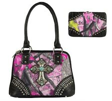 TRUE TIMBER SASSY B CAMO CONCEALED CARRY TURQUOISE CROSS PURSE WALLET SET PINK