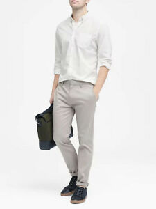 NWT Banana Republic New $59.5 Men Grant Slim-Fit Custom-Wash Solid Shirt Size XL